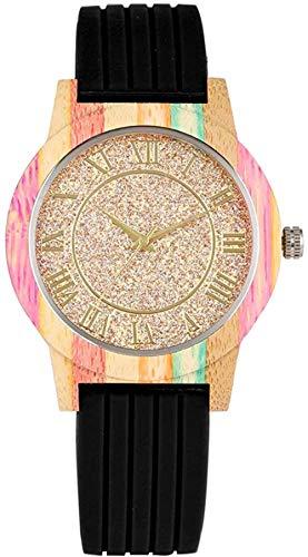 Reloj de Madera de Cuarzo para Mujer - Esfera Dorada con números Romanos - Reloj de Madera de Colores - para Hombre