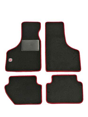 Glac Store Kit Tappetini per Auto con Logo Ricamato Fiat per 500 d'Epoca Anteriori e Posteriori di Alta qualità in Moquette con Battitacco Bordo Rosso Velcro per aderire Artigianali