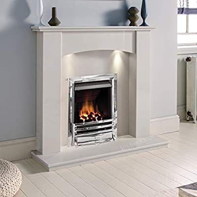 White Marble Stone Modern Curved Wall Surround Gas Fireplace Suite Chrome Inset Gas Fire with Downlights