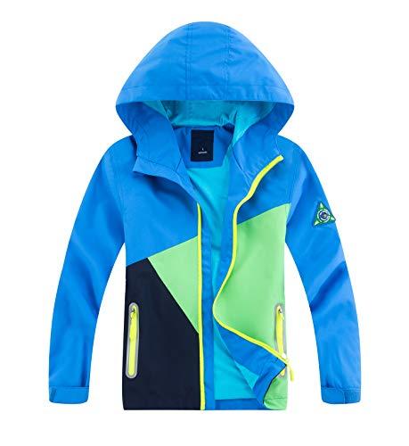 YoungSoul Kinder Regenjacke mit Farbblock Mädchen Jungen Übergangsjacke Outdoorjacke Win und Wasserdicht Windjacke mit Kapuze Blau L 122-128