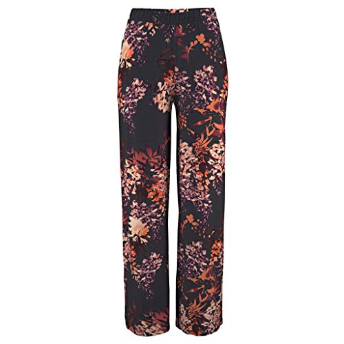 Long Pants,Meet&sunshine Women Casual Lantern Floral Print Daily Loose Elasticity Long Pants Trousers (S)