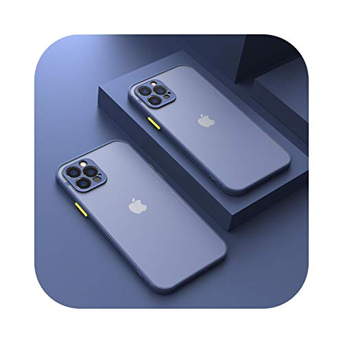 Funda protectora de cámara para iPhone 11 Pro Max 12 Mini 7 8 6 6S Plus XR X XS Max SE 2020 carcasa de silicona parachoques esmerilado cubierta azul para iPhone 12 mini