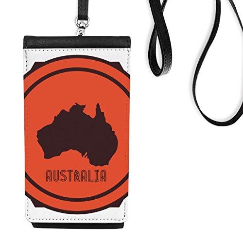 DIYthinker Australië Smaak Kaart Rood En Embleem Illustratie Faux Lederen Smartphone Hangende portemonnee Telefoon Portemonnee