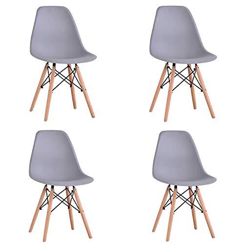 WV LeisureMaster Satz von 4 Esszimmerstühlen Dining Bedroom Kitchen Retro Kunststoffsitz und Holzbeinen (Grau)