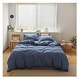 HDGAB Juego de ropa de cama de 4 piezas, color puro SimplicitySoft microfibra funda de edredón (220 x 240 cm) con 2 fundas de almohada de 48 x 74, con cierre de cremallera (color: E)