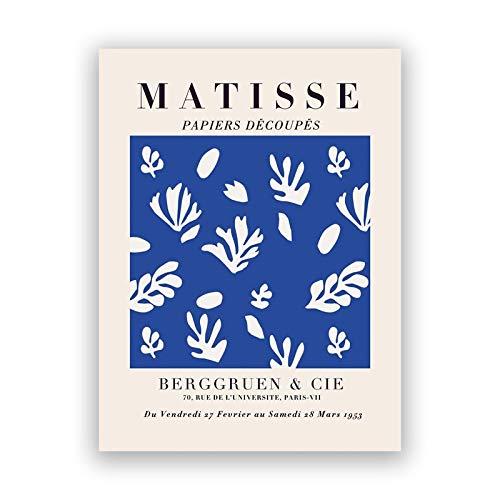 Carteles e impresiones de la exposición de Henri Matisse, cuadro de arte de pared azul, pintura de lienzo sin marco de la familia del cuerpo azul A2 20x30cm