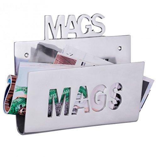 WOHNLING Wand Zeitungsstönder MAGS Alu-minium Zeitungshalter Metall Zeitschriftenhalter Industrial Magazinhalter Silber-farben zum auf-höngen Vintage Zeitschriftenstönder höngend Ablagefach 30 x 26 cm