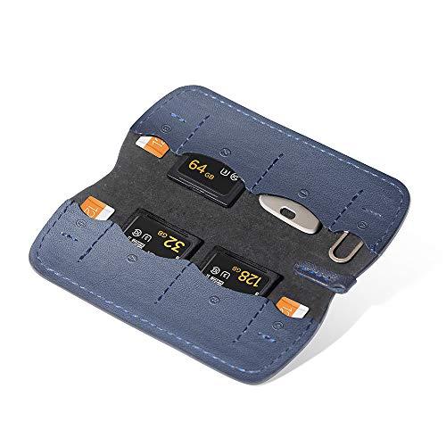 PGYTECH Speicherkarte Schutzhüllen, Tragetasche, Brieftasche, Speicherkartenetui Geeignet für SD, Micro SD und SIM Cards (Dunkelblau)