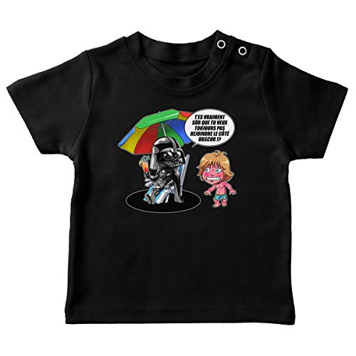 T-Shirt bébé Noir Parodie Star Wars - Luke Skywalker, Dark Vador et Le côté obscur - Le Pouvoir du côté Obscur. (T-Shirt de qualité Premium de Taille 18 Mois - imprimé en France)
