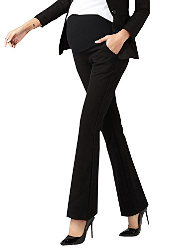 Foucome Maternity Work Pants Ove Belly High Waist Wide/Straight Leg Formal Pregnancy...