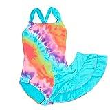 Dayu Girls' One Piece Swimsuit with Swim Skirt, Blue...