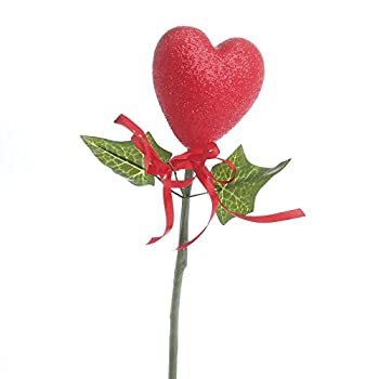 Factory Direct Craft Group of 6 Romantic Red Glitter Covered Styrofoam Heart Floral Picks with Green Leaf and Red Ribbon Accents