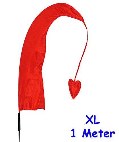 alles-meine.de GmbH 1 Stück _ XL - 1 m - Windfahne / Balifahne -  ROT  - mit Fahnenstange - UV-beständig & wetterfest - Windrichtungsanzeige - aus Nylon / Flagge Windrichtungsa..