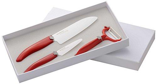 Kyocera X'MAS SET WH RD Coffret Couteau Lame Céramique Blanc/Rouge 33,5 x 17 x 3,6 cm