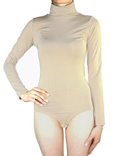 Muse-Body térmico elástico de manga larga y cuello alto para mujer, varios colores, tallas S, M, L color carne S