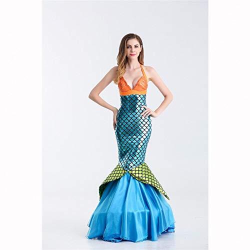 GBYAY Frauen Meerjungfrau Kostüm Kleid Frauen Meerjungfrau Schwanz Kleider Halloween Strand Cosplay Kostüme Erwachsene Abendgesellschaft Bühnenshow