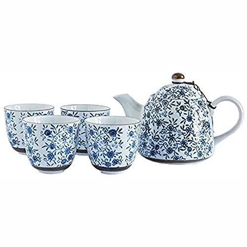 Juego de tazas de café de porcelana azul y blanco, estilo japonés con mango y tazas de té, servicio para 4 adultos bellamente empaquetado en caja de regalo