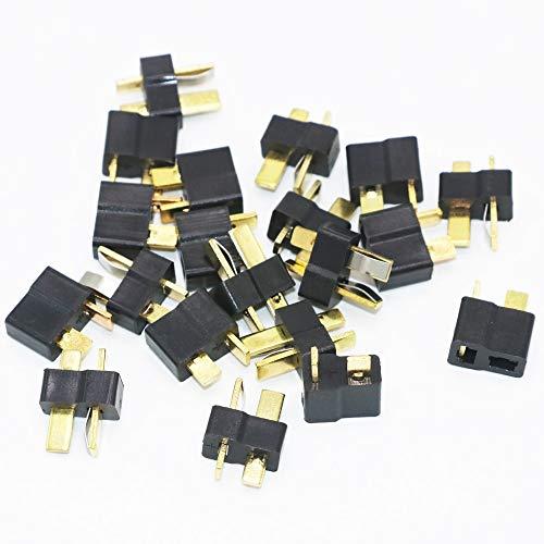 SHUGJAN 20pcs Negro T enchufe conectores macho Mujer for decanos for el helicóptero RC Lipo (10pair) Piezas de montaje RC