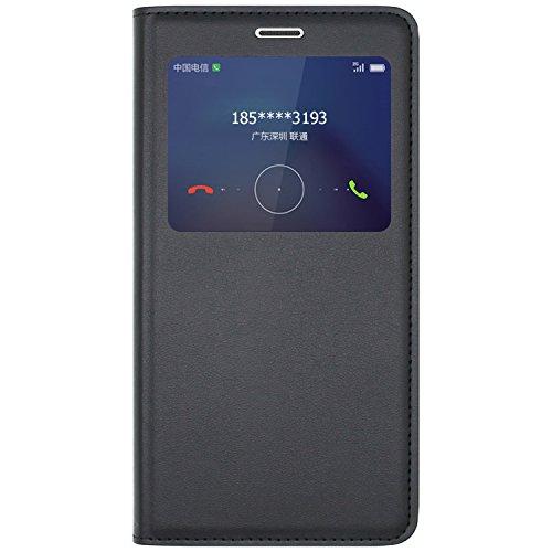 Ambaiyi Flip Ledertasche mit Fenster Handyhülle Schutzhülle für Huawei Honor 6X, Honor 6X Hülle, Schwarz