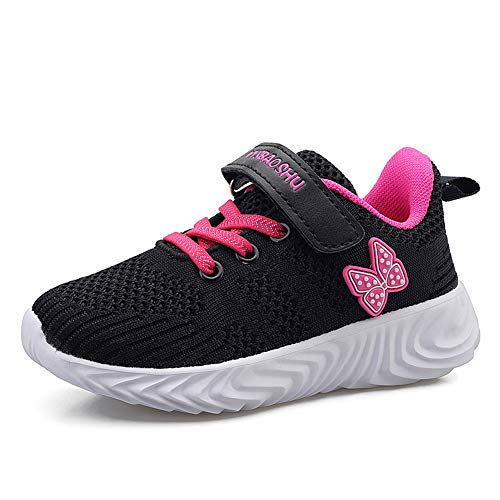 Minbei Unisex Kinder Hallenschuhe Jungen Sneakers Atmungsaktive Sportschuhe Laufschuhe Mädchen Leichte Turnschuhe Schwarz 26 EU/CN 26