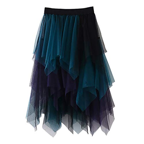 Women's Tulle Skirt Formal High Low Asymmetrical Midi Tea-Length Elastic Waist Skirt, Sheer Layered Midi Skirt