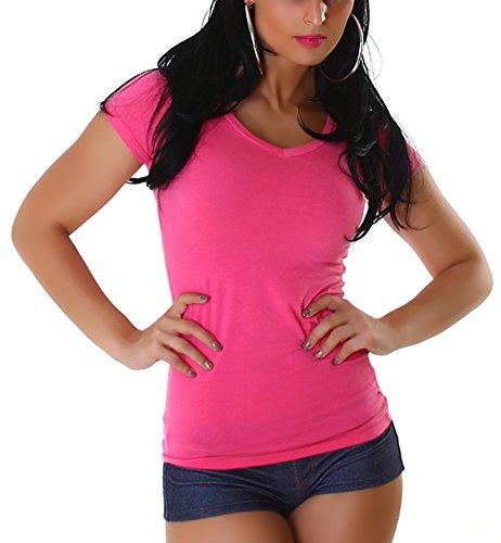 Jela London Damen T-Shirt lang Longshirt Basic eng-anliegend einfarbig V-Ausschnitt Kurzarm, Pink 40 (XXL)