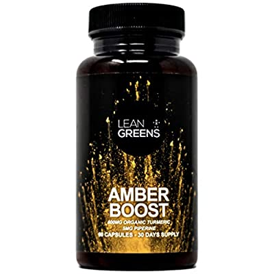 Amber Boost - Designed For Optimal Gut Health Making Your Tummy A Happy Place Again. Organic Turmeric Curcumin with Bioperine Black Pepper Extract. by Lean Greens