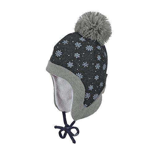 Sterntaler Inka-Mütze für Mädchen mit Bommel und Bindebändern, Alter: ab 9-12 Monate, Größe: 47, Schwarz