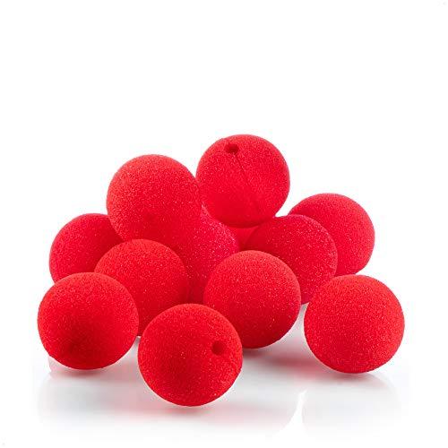 com-four® 12x Narices de payaso de espuma - Nariz falsa en rojo para disfraces para carnaval y otras fiestas temáticas - Nariz payaso espuma, Ø 5 cm (12 piezas)