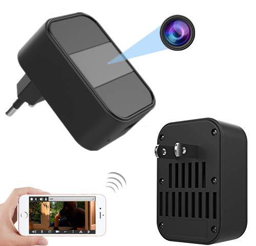 Cámara Oculta HD Cámara no Perforada Visión súper Nocturna WiFi inalámbrico Cámara espía Tipo de Adaptador de CA Cámara Función de detección de Movimiento Circulación Video Cargador de teléfono móvil