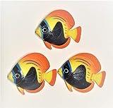 Juego de 3 peces decorativos de colores amarillo, naranja y negro, artículo decorativo para acuario, accesorios de columna de agua, flotadores, peces, decoración, peces de repuesto #1
