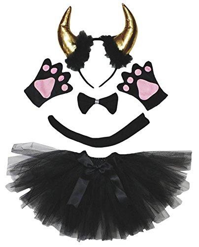 Petitebelle Gold Bull - Guantes de cola de moño para niña (5 unidades, 5 – 10 años), color negro