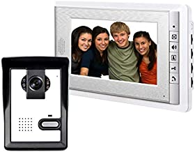 AMOCAM Wired Video Intercom Doorbell System 7 Inches LCD Monitor Video Door Phone Bell Kits support Monitoring,Unlock,Dual-way Door Intercom for villa Home Security Systems 1-IR Camera 1-Color Screen