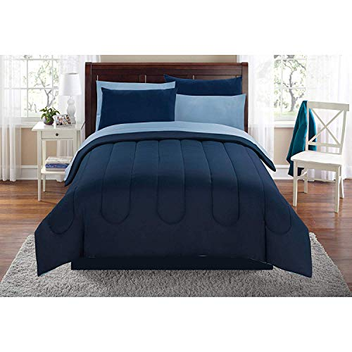 Keeco Mainstays Solid Navy Twin Bed in a Bag Coordinating Bedding Set #529421625
