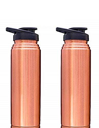 NJ Copper Sipper Bottle for Kids, Gift for Men and Women, Copper Bottle with Sipper for Gym, Sports, Yoga, Office-goers, Jointless Leakproof Pure Copper Water Bottle 800 ml: 2 Pcs Set