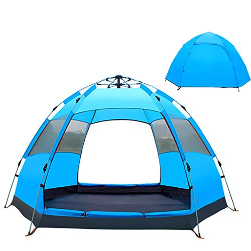FREEDOL Automatic Opening Tent, Hexangular Hydraulic Big Tent for 4-6 Person, Rainproof And Sunscreen Family Camping Tent for Outdoor Camping,Blue