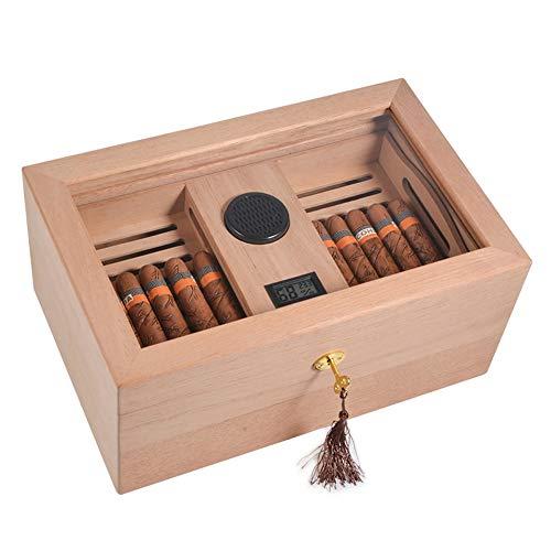 FxsD Zigarrenschachtel, Unpainted Zedernholz Humidor, transparentes Glasfenster, Double-Layer-Zigarre-Ausstellungsstand, Mit Hygrometer und Luftbefeuchter, hält 100 Zigarren ## (Color : A)