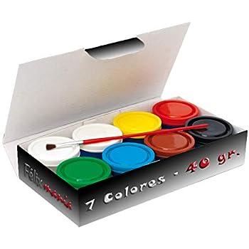 Caja Temperas 7 Botes (40gr/Color) + Pincel: Amazon.es: Electrónica