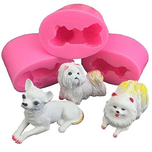 3 piezas 3D perro molde de silicona Fondant Mousse para decoración pasteles Chocolate Gumpaste Pudding hornear, jabón, vela, arcilla, plantillas hacer, molde, resina yeso con forma animal, hornear