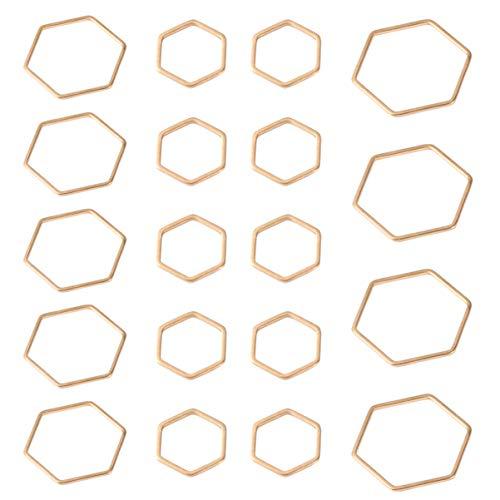 HEALLILY 30 Piezas de Biseles Abiertos Joyería Dorada Fabricación de Colgantes Hexagonales Encantos DIY Accesorio para Hacer Joyas