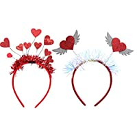WINOMO カチューシャ ハート 髪飾り 赤い ハート頭飾り かわいい パーティー 変装用 ヘアアクセサリー 新年会 1セット2pcs
