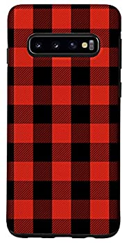 Galaxy S10 Red & Black Checkered Plaid Flannel Gingham Pattern AEN325 Case
