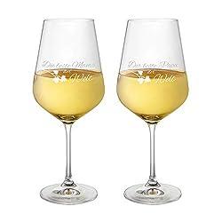 AMAVEL Weißweingläser, 2er Set Weingläser mit Gravur für Mama und Papa, Motiv 3, gravierte Weingläser aus Klarglas