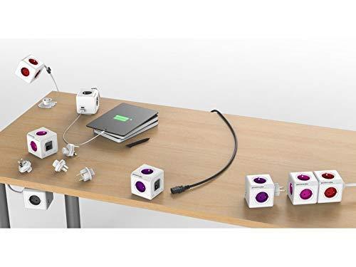 Allocacoc PowerCube Extended Grau FR, 5X Steckdose und Verteiler, 230V FR, Weiß Grau
