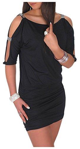 Glamour Empire Damen Tunik Top mit Armschlitz Mini-Kleid Schwarz Partykleid 157 (Schwarz, 40-42, L)