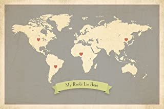 My Roots Personalized World Map 24x18 Print, Kid's Wall Art World Map, Kid's Wall Art Print, Kid's Travel World Map, Customized Roots Map, Nursery Décor, Nursery Wall Art, Adventure World Map