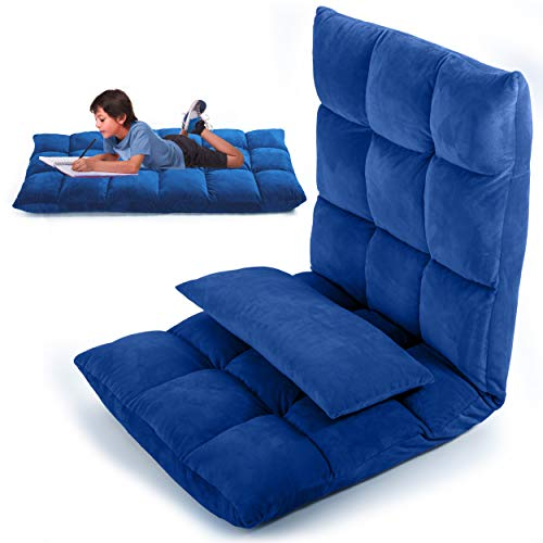 LayBäck Floor Chair with Back Support | Pillow Floor Gaming Chair with Floor Cushions for Adults | Foldable Adjustable Ergonomic Recliner | Blue Micro Plush Fabric | with Pocket and Bonus Pillow