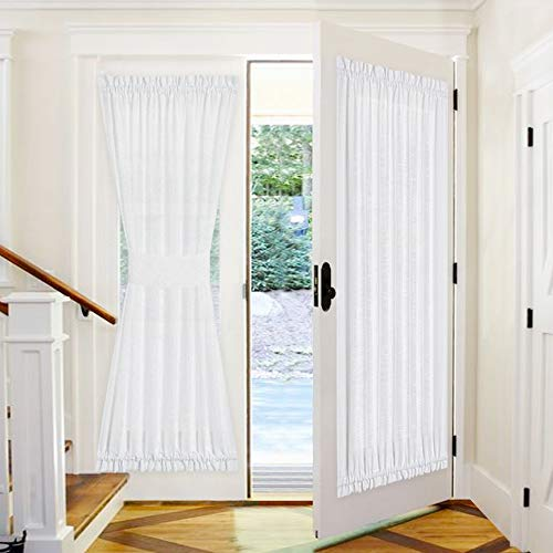 PONY DANCE Front Door Curtain - 52 by 72 inches White Sheers Weave Fabric Pattern Window Panels Rod Pocket Drapes for Entryway Sliding Door with Tieback, 1 Piece