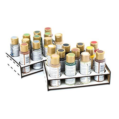 PROSCALE Soporte organizador pinturas miniaturas modelismo. Kit mesa de trabajo vallejo bote pinturas pinceles vallejo acrilico miniaturas warhammer modelismo maquetas (36 mm)