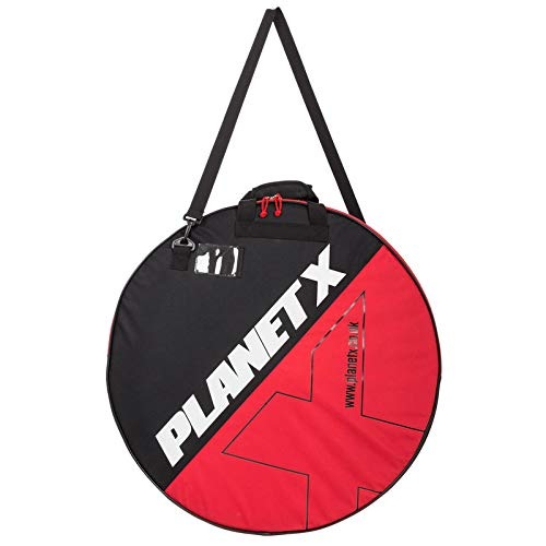 Planet X Padded Double Bike Wheel Bag 700c Cycling Bicycle Transport Bag Mountain Bike Wheelset Carry Bag (Black & Red)